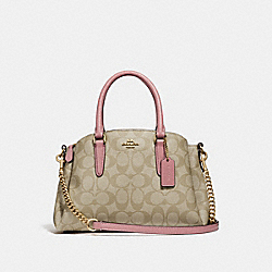 COACH F29434 Mini Sage Carryall In Signature Canvas LIGHT KHAKI/VINTAGE PINK/IMITATION GOLD