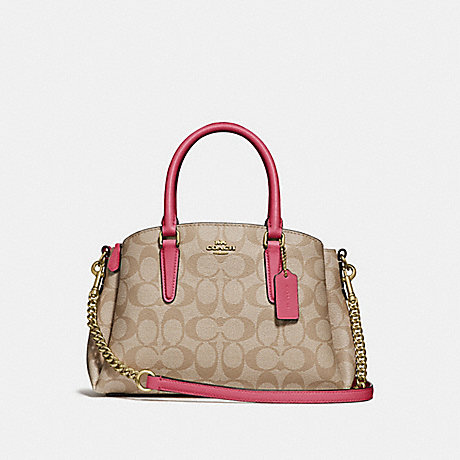 COACH F29434 MINI SAGE CARRYALL IN SIGNATURE CANVAS LIGHT KHAKI/ROUGE/GOLD