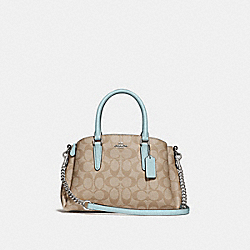 MINI SAGE CARRYALL IN SIGNATURE CANVAS - F29434 - LIGHT KHAKI/SEAFOAM/SILVER