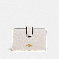 COACH F29439 Medium Corner Zip Wallet In Signature Leather CHALK/IMITATION GOLD