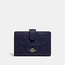 COACH F29439 Medium Corner Zip Wallet In Signature Leather MIDNIGHT/IMITATION GOLD