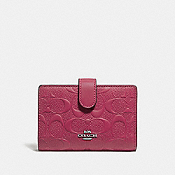 COACH F29439 Medium Corner Zip Wallet In Signature Leather SILVER/HOT PINK