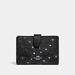 COACH F29440 Medium Corner Zip Wallet With Celestial Print SILVER/BLACK