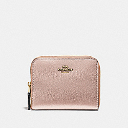 COACH F29444 Small Zip Around Wallet ROSE GOLD/LIGHT GOLD