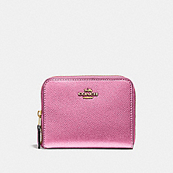COACH F29444 Small Zip Around Wallet METALLIC ANTIQUE BLUSH/LIGHT GOLD