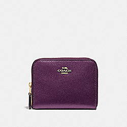 COACH F29444 Small Zip Around Wallet METALLIC RASPBERRY/LIGHT GOLD