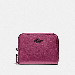 COACH F29444 Small Zip Around Wallet METALLIC MAGENTA/BLACK ANTIQUE NICKEL