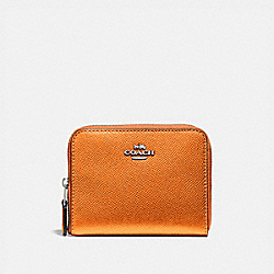 COACH F29444 Small Zip Around Wallet METALLIC TANGERINE/SILVER