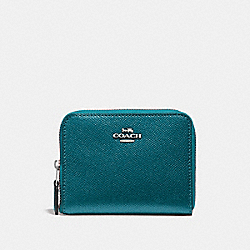 COACH F29444 Small Zip Around Wallet METALLIC DARK TURQUOISE/SILVER