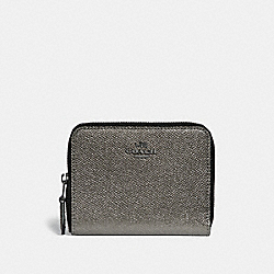 COACH F29445 Small Zip Around Wallet With Constellation Print Interior ANTIQUE NICKEL/GUNMETAL