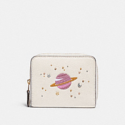 COACH F29447 Small Zip Around Wallet With Space Motifs CHALK/LIGHT GOLD