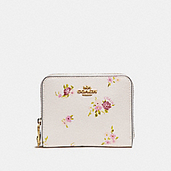 COACH F29449 Small Zip Around Wallet With Daisy Bundle Print And Bow Zip Pull CHALK MULTI/IMITATION GOLD