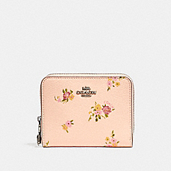 COACH F29449 Small Zip Around Wallet With Daisy Bundle Print And Bow Zip Pull LIGHT PINK MULTI/SILVER