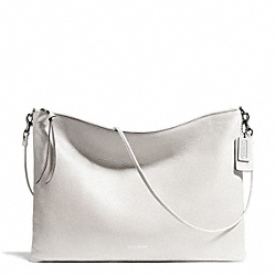COACH F29461 Bleecker Leather Daily Shoulder Bag SILVER/WHITE