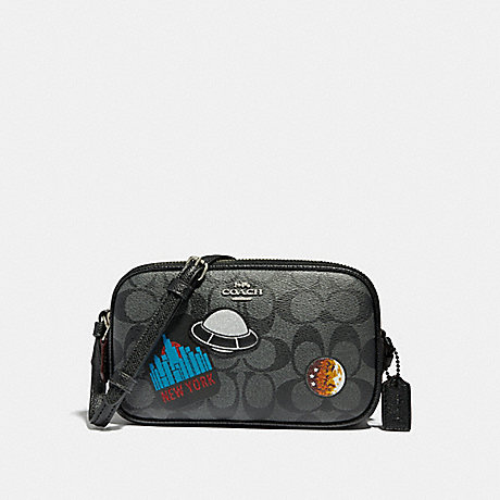 COACH CROSSBODY POUCH WITH SPACE PATCHES - BLACK/MULTI/SILVER - f29463