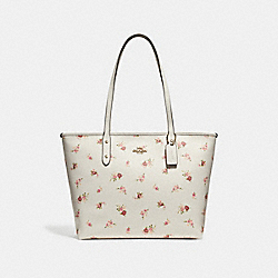 COACH F29487 City Zip Tote With Daisy Bundle Print CHALK MULTI/IMITATION GOLD