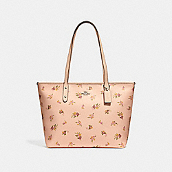 COACH F29487 - CITY ZIP TOTE WITH DAISY BUNDLE PRINT LIGHT PINK MULTI/SILVER