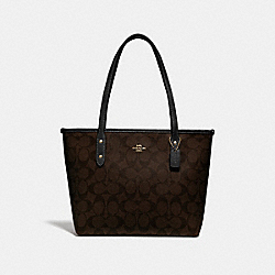 MINI CITY ZIP TOTE IN SIGNATURE CANVAS - f29500 - BROWN/BLACK/LIGHT GOLD