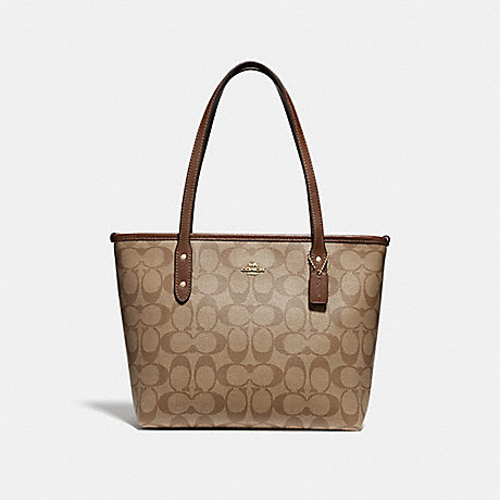 40b8999c67 COACH f29500 MINI CITY ZIP TOTE IN SIGNATURE CANVAS KHAKI SADDLE 2 IMITATION  GOLD