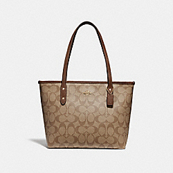 MINI CITY ZIP TOTE IN SIGNATURE CANVAS - f29500 - KHAKI/SADDLE 2/IMITATION GOLD