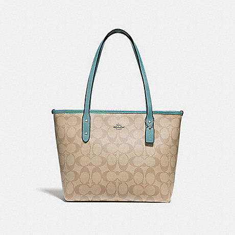 COACH f29500 MINI CITY ZIP TOTE IN SIGNATURE CANVAS<br>蔻驰小城市手提包拉链在签名画布 SVNKA