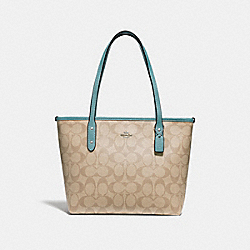 MINI CITY ZIP TOTE IN SIGNATURE CANVAS - f29500 - SVNKA