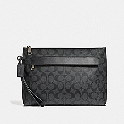 COACH F29508 Carryall Pouch In Signature Canvas CHARCOAL/BLACK