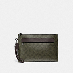 CARRYALL POUCH IN SIGNATURE CANVAS - F29508 - SURPLUS/BLACK ANTIQUE NICKEL