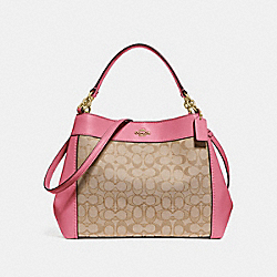SMALL LEXY SHOULDER BAG IN SIGNATURE JACQUARD - f29548 - light khaki/peony/light gold