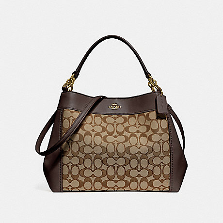 3ab60305ae COACH f29548 SMALL LEXY SHOULDER BAG IN SIGNATURE JACQUARD KHAKI BROWN IMITATION  GOLD