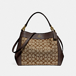 SMALL LEXY SHOULDER BAG IN SIGNATURE JACQUARD - f29548 - KHAKI/BROWN/IMITATION GOLD