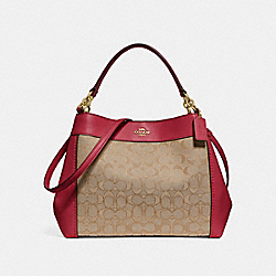 COACH F29548 Small Lexy Shoulder Bag In Signature Jacquard KHAKI/CHERRY/LIGHT GOLD