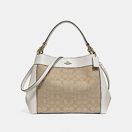 COACH f29548 SMALL LEXY SHOULDER BAG IN SIGNATURE JACQUARD LIGHT KHAKI/CHALK/LIGHT GOLD