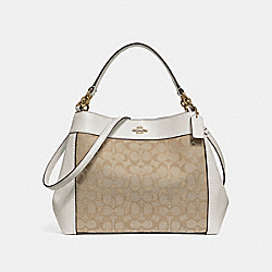 SMALL LEXY SHOULDER BAG IN SIGNATURE JACQUARD - f29548 - LIGHT KHAKI/CHALK/LIGHT GOLD