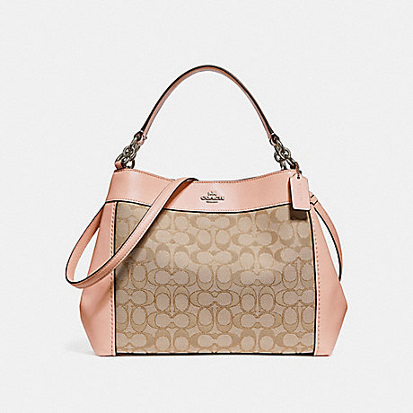 COACH f29548 SMALL LEXY SHOULDER BAG IN SIGNATURE JACQUARD LIGHT KHAKI/LIGHT PINK/SILVER