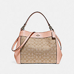 SMALL LEXY SHOULDER BAG IN SIGNATURE JACQUARD - f29548 - LIGHT KHAKI/LIGHT PINK/SILVER