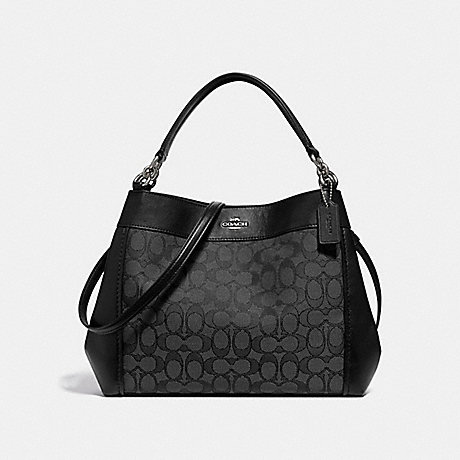 COACH f29548 SMALL LEXY SHOULDER BAG IN SIGNATURE JACQUARD BLACK SMOKE/BLACK/SILVER