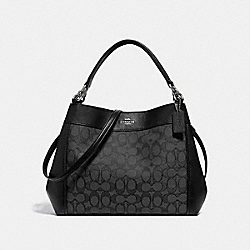 SMALL LEXY SHOULDER BAG IN SIGNATURE JACQUARD - f29548 - BLACK SMOKE/BLACK/SILVER