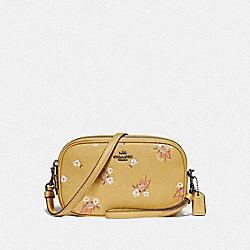 SADIE CROSSBODY CLUTCH WITH FLORAL BOW PRINT - F29549 - SUNFLOWER FLORAL BOW/DARK GUNMETAL