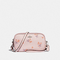 SADIE CROSSBODY CLUTCH WITH FLORAL BOW PRINT - F29549 - ICE PINK FLORAL BOW/SILVER