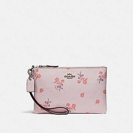 COACH F29550 SMALL WRISTLET WITH FLORAL BOW PRINT ICE PINK FLORAL BOW/SILVER