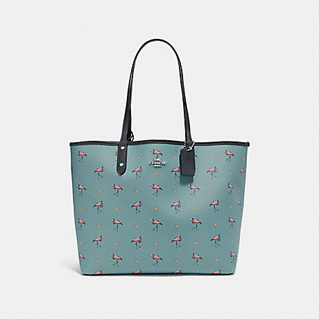 COACH f29558 REVERSIBLE CITY TOTE WITH FLAMINGO PRINT SVNGV