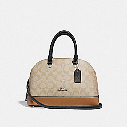 MINI SIERRA SATCHEL IN COLORBLOCK SIGNATURE CANVAS - f29566 - SILVER/LIGHT KHAKI MULTI