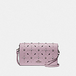 COACH F29575 Hayden Foldover Crossbody Clutch With Prairie Rivets ICE PURPLE/SILVER