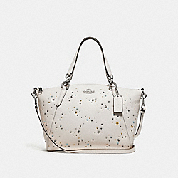 SMALL KELSEY SATCHEL WITH CELESTIAL STUDS - f29597 - SILVER/CHALK