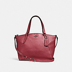 COACH F29639 Mini Kelsey Satchel METALLIC HOT PINK/BLACK ANTIQUE NICKEL