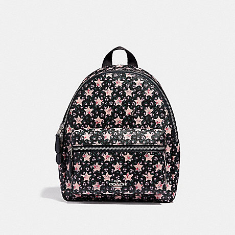 COACH f29656 MINI CHARLIE BACKPACK WITH STAR PRINT MIDNIGHT MULTI/SILVER
