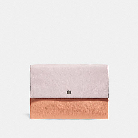 COACH F29660 ENVELOPE POUCH IN COLORBLOCK SV/ICE-PINK-MULTI