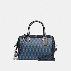 MINI BENNETT SATCHEL WITH LEGACY PRINT - f29669 - SILVER/NAVY