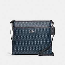 FILE CROSSBODY WITH LEGACY PRINT - f29672 - SILVER/NAVY